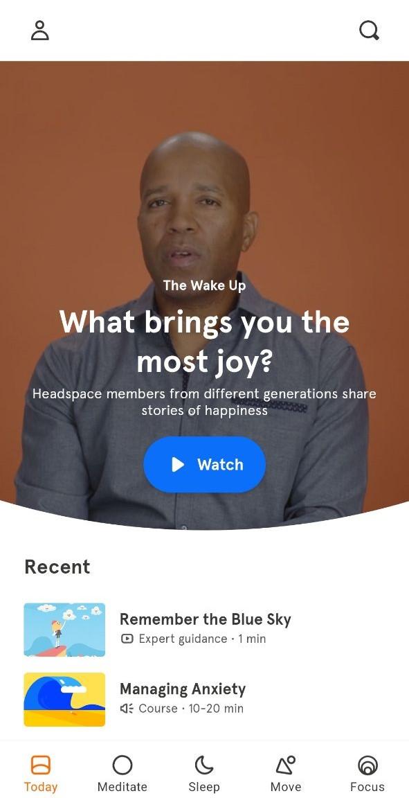 Tampilan App Headspace
